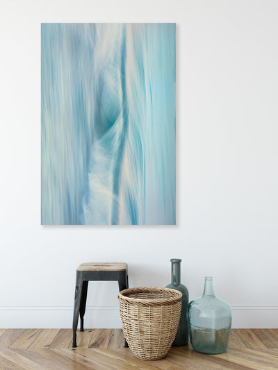 blue toned abstract wall art photographic piece by Julie Sisco North Stradbroke Island elemental styled with bottles basket and stool