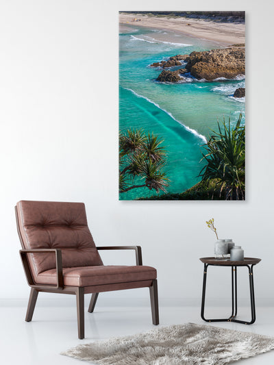 canvas wall art photograph of South Gorge on North stradbroke Island on the wall above a chair and side table
