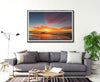 living room with framed wall art print of amazing sunset with reds and orange colours at North Stradbroke Island