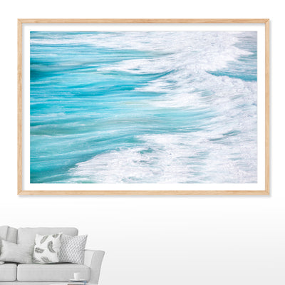 wall art abstract photograph of blue ocean and rough swells at north stradbroke island to suit a coastal themed home