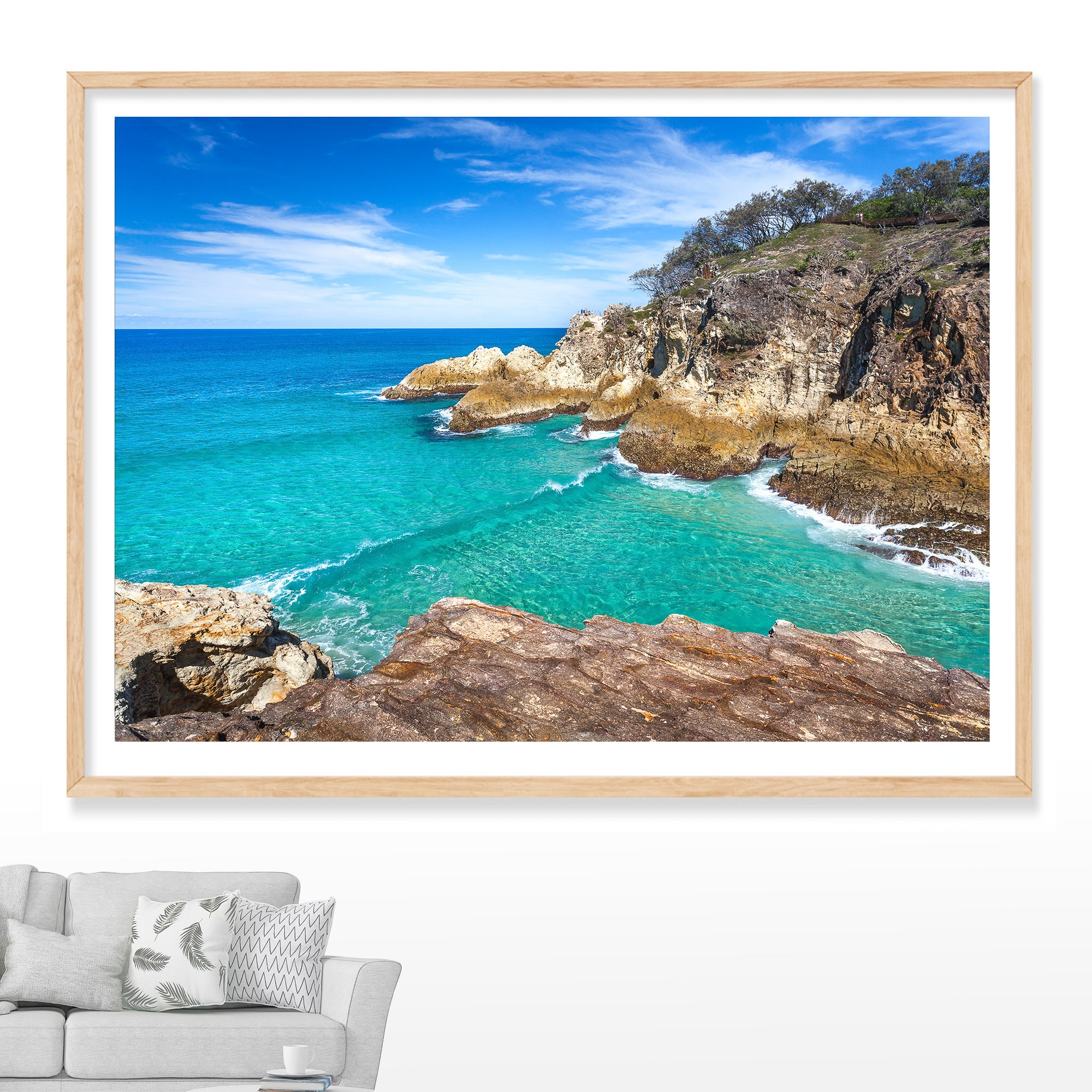 North Gorge Rocks with crystal clear water on a sunny day at North Stradbroke Island  on North Stradbroke Island, Wall Art photography by Julie Sisco Snapshots of Straddie Gallery