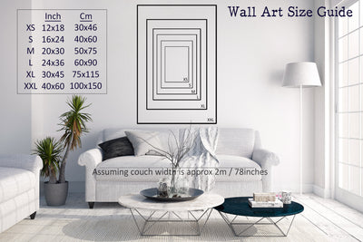 Wall art size guide in living room showing different size prints demonstrated on the wall behind a white couch