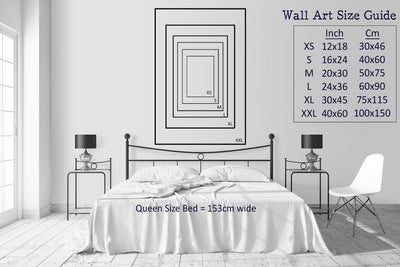 wall art print size guide showing different size prints compared to the queen size bed