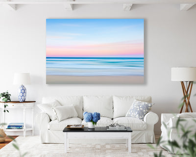 a pink blue ocean abstract photograph on living room wall photography by julie sisco stradbroke island straddie north