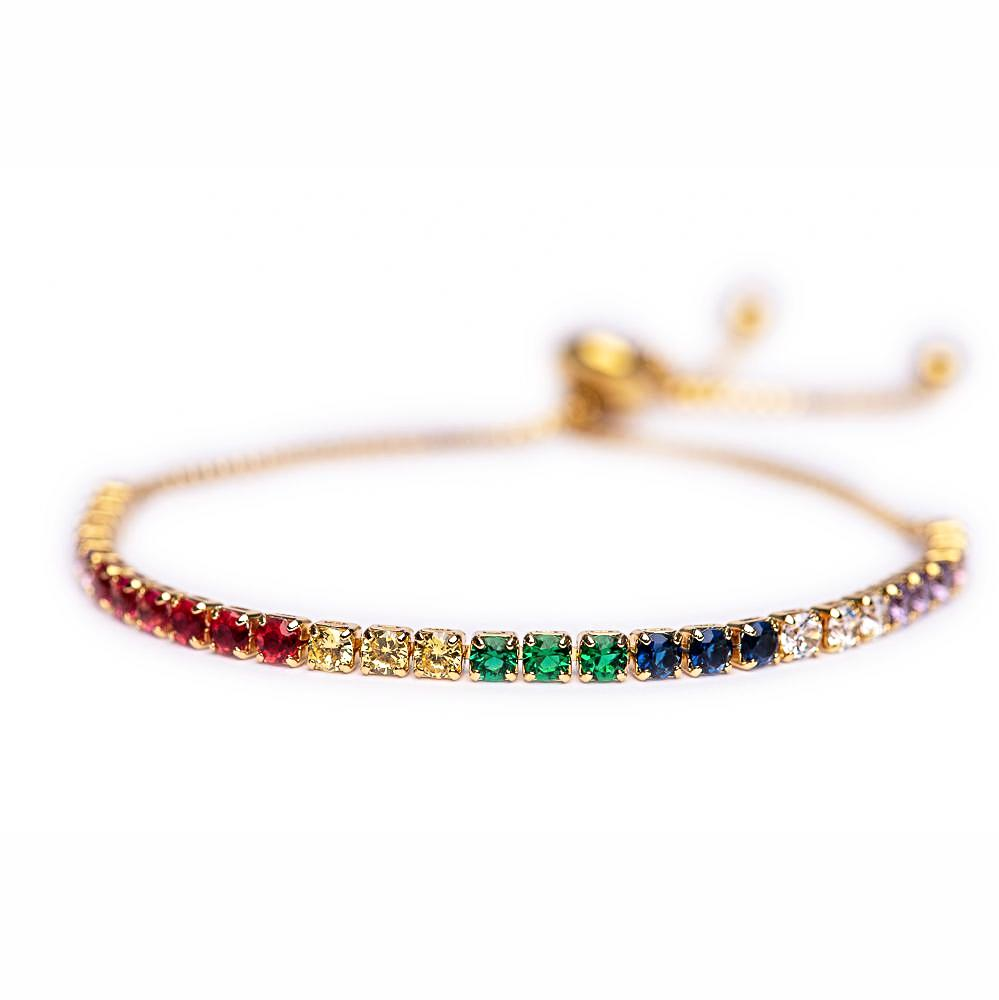 BRACELET B-268 - RAINBOW GLAM ADJUSTABLE - BohoBlingCo