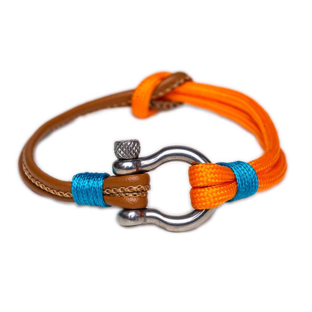 BRACELET ORANGE SHACKLE - NAUTICAL - STAINLESS STEEL - MEN - BohoBlingCo