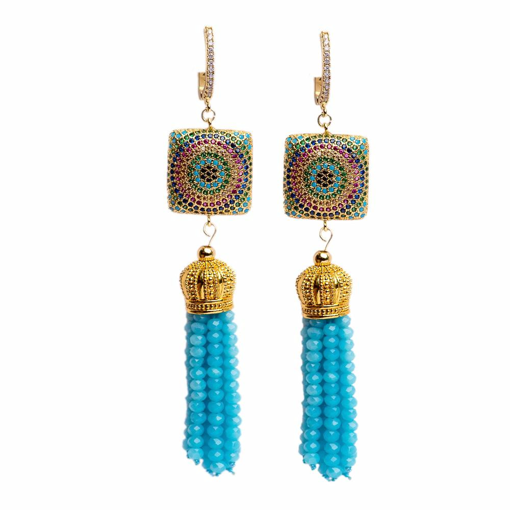 EARRINGS E-001 - CRYSTAL BLING TURQUOISE - BohoBlingCo