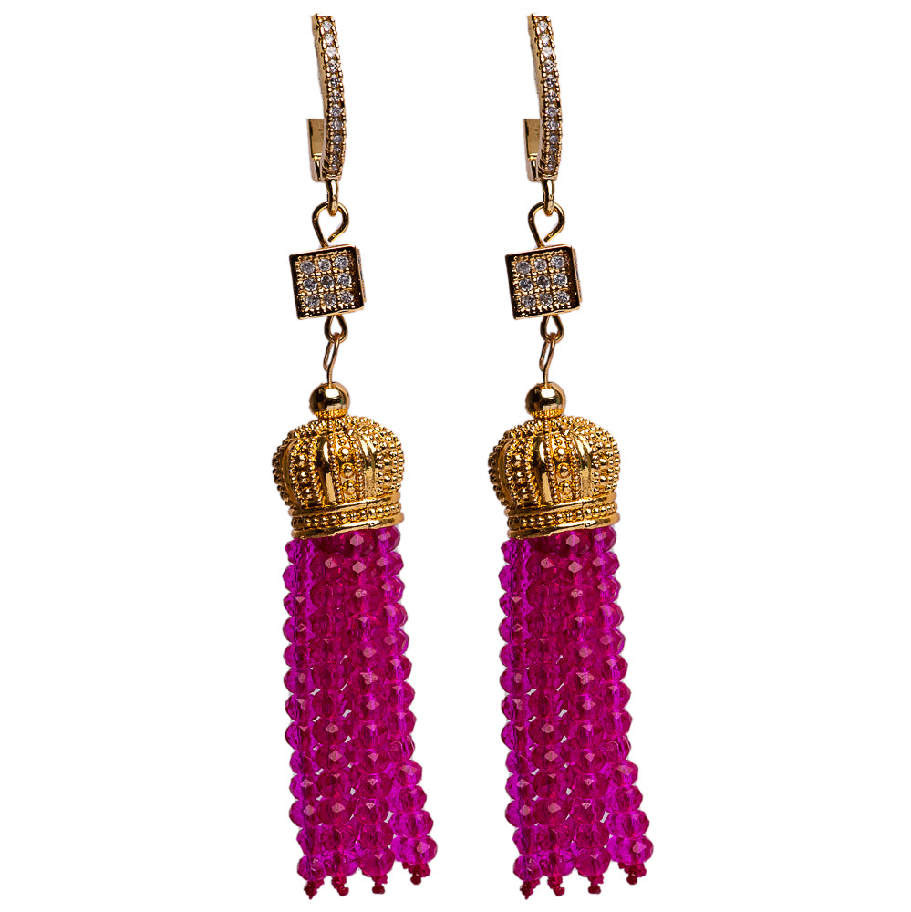 EARRINGS E-008 - CRYSTAL TASSELS PINK - BohoBlingCo