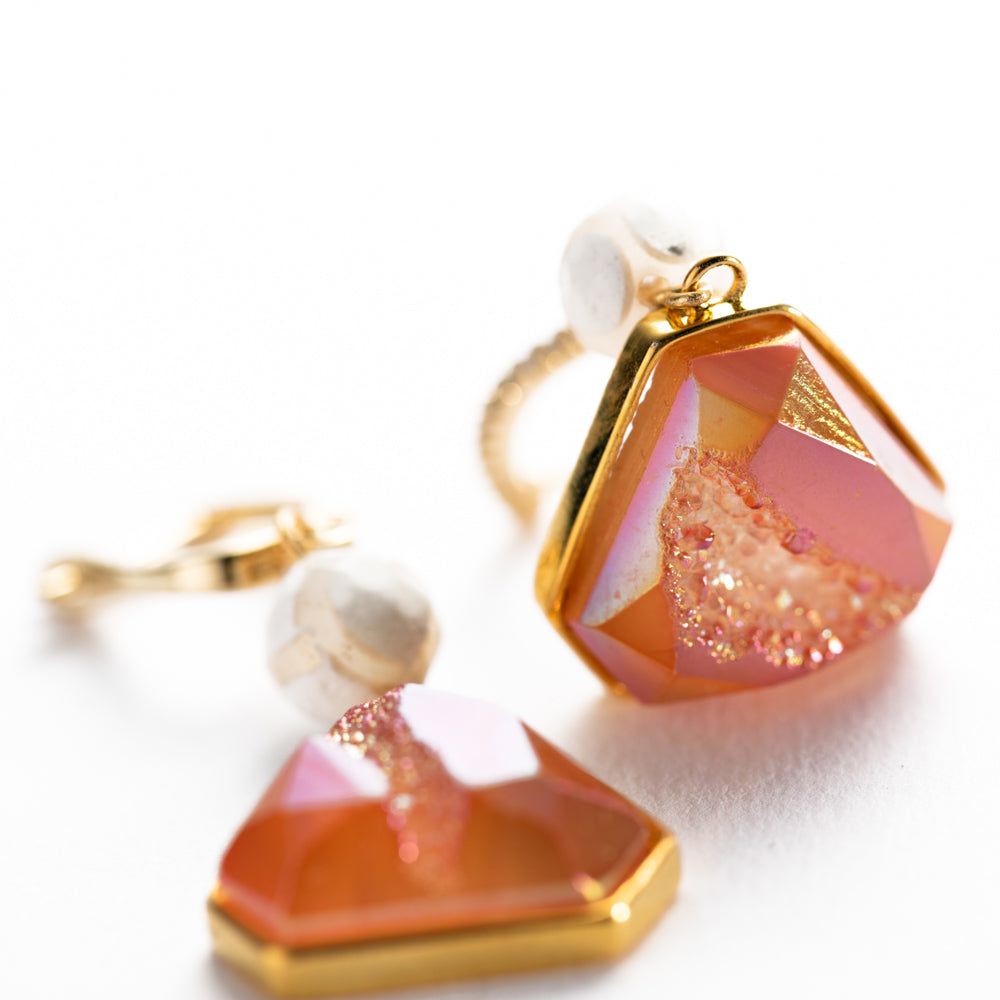 EARRINGS E-014 - DRUZY PINK - BohoBlingCo