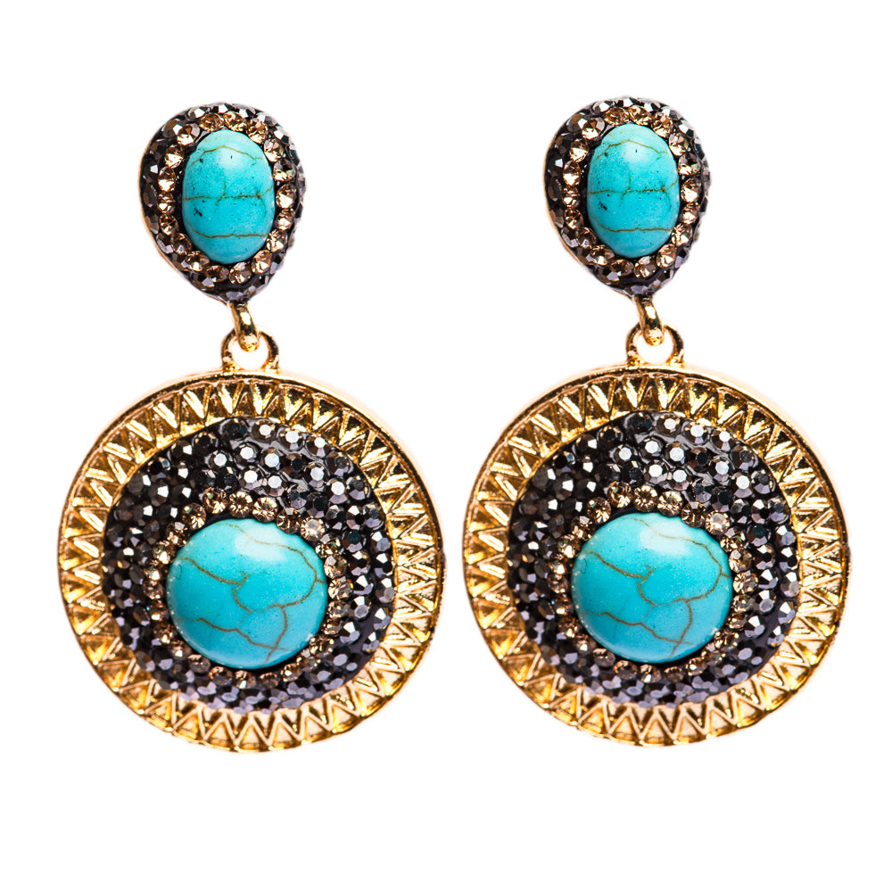 EARRINGS E-137 - TURQUOISE DANGLE - BohoBlingCo
