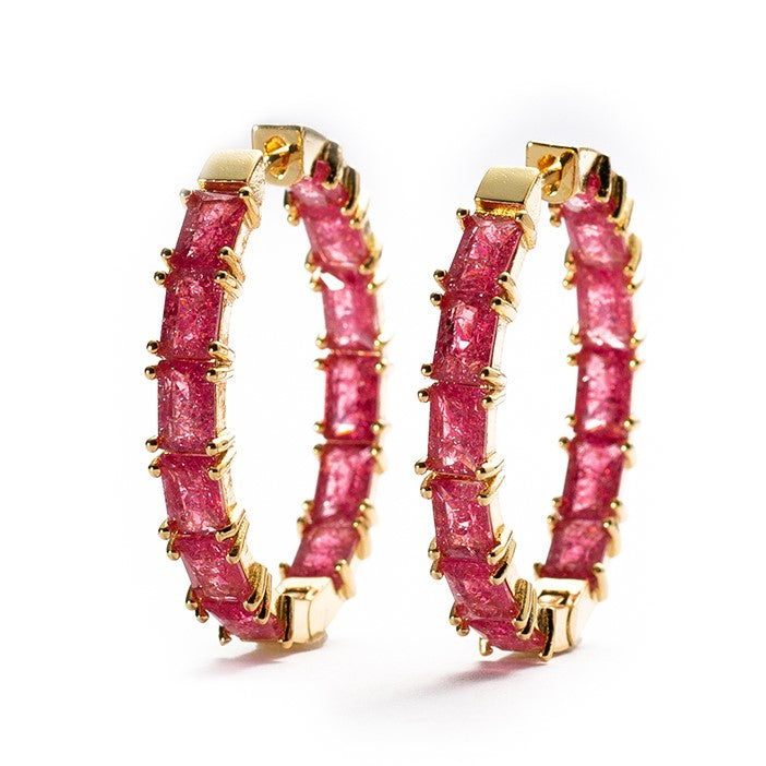 EARRINGS E-162 - RED CZ HOOPS - BohoBlingCo