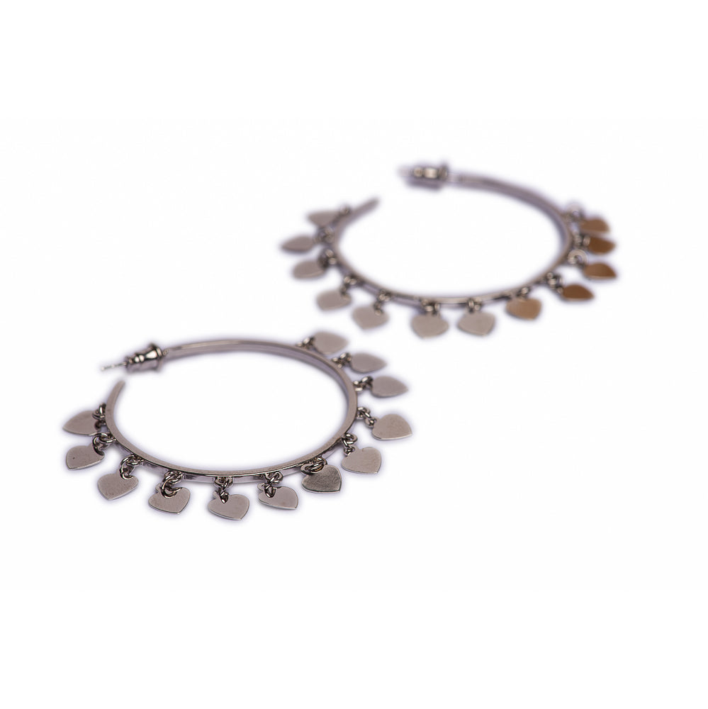 EARRINGS E-287 - HEARTS HOOPS SILVER - BohoBlingCo