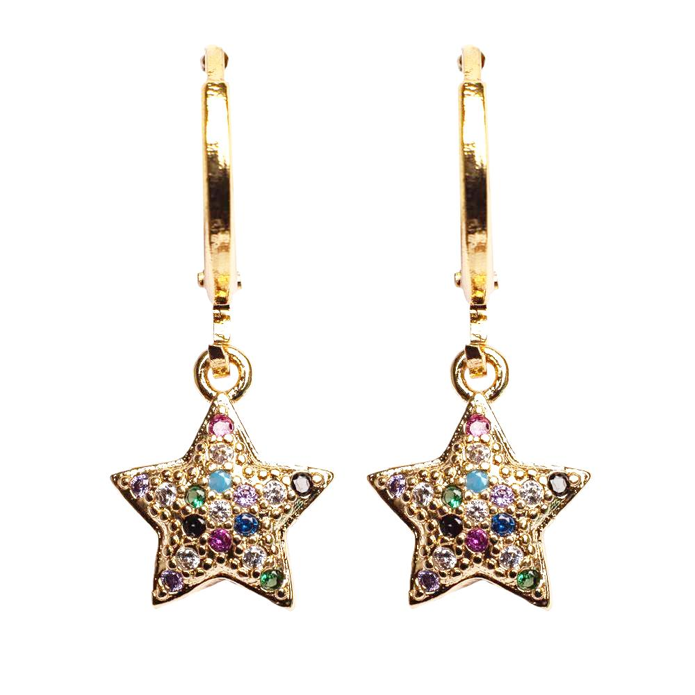EARRINGS E-614 - RAINBOW STARS - BohoBlingCo