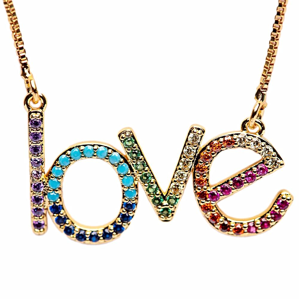 NECKLACE N-265 - RAINBOW LOVE - BohoBlingCo