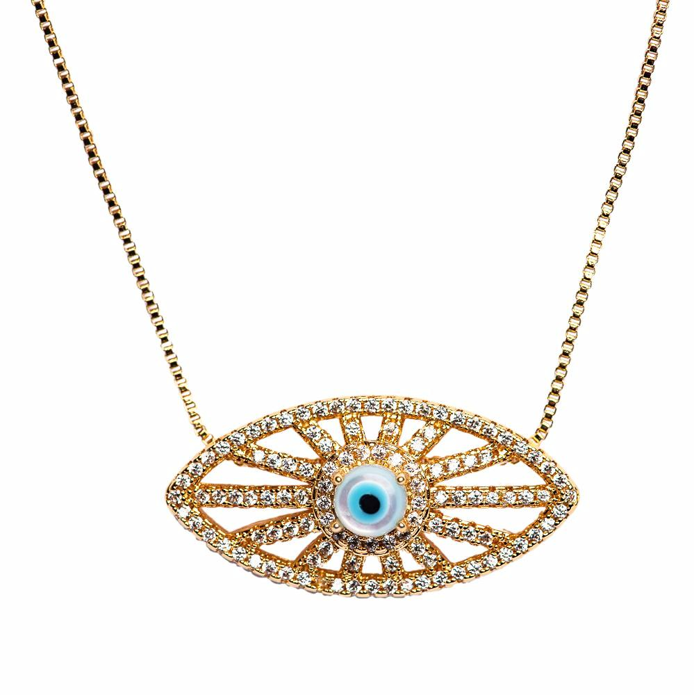 NECKLACE N-296 - EVIL EYE BLING - BohoBlingCo