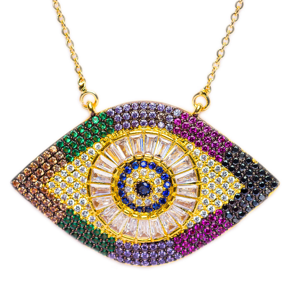 NECKLACE N-342 - EVIL EYE RAINBOW - BohoBlingCo