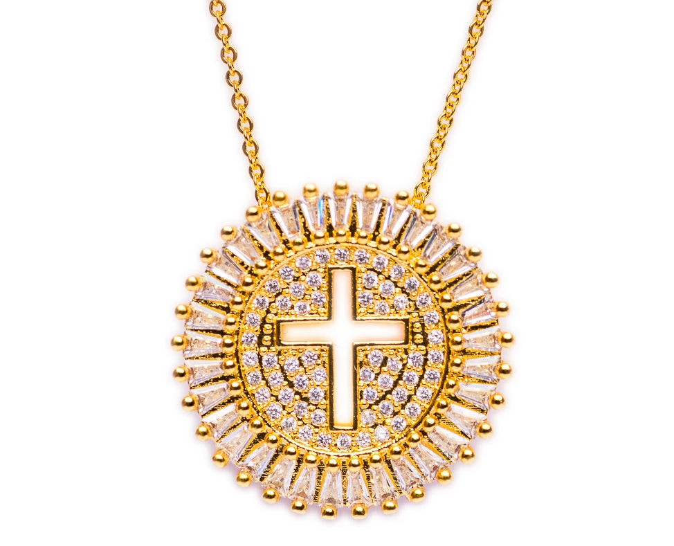 NECKLACE N-343 - CROSS BLING - BohoBlingCo