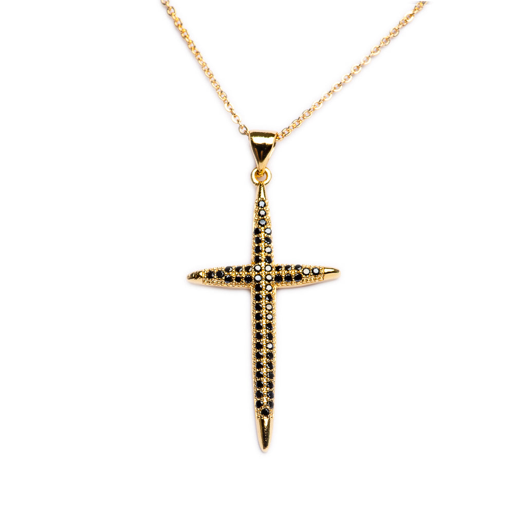 NECKLACE  N-347 - CROSS BLACK BLING - BohoBlingCo