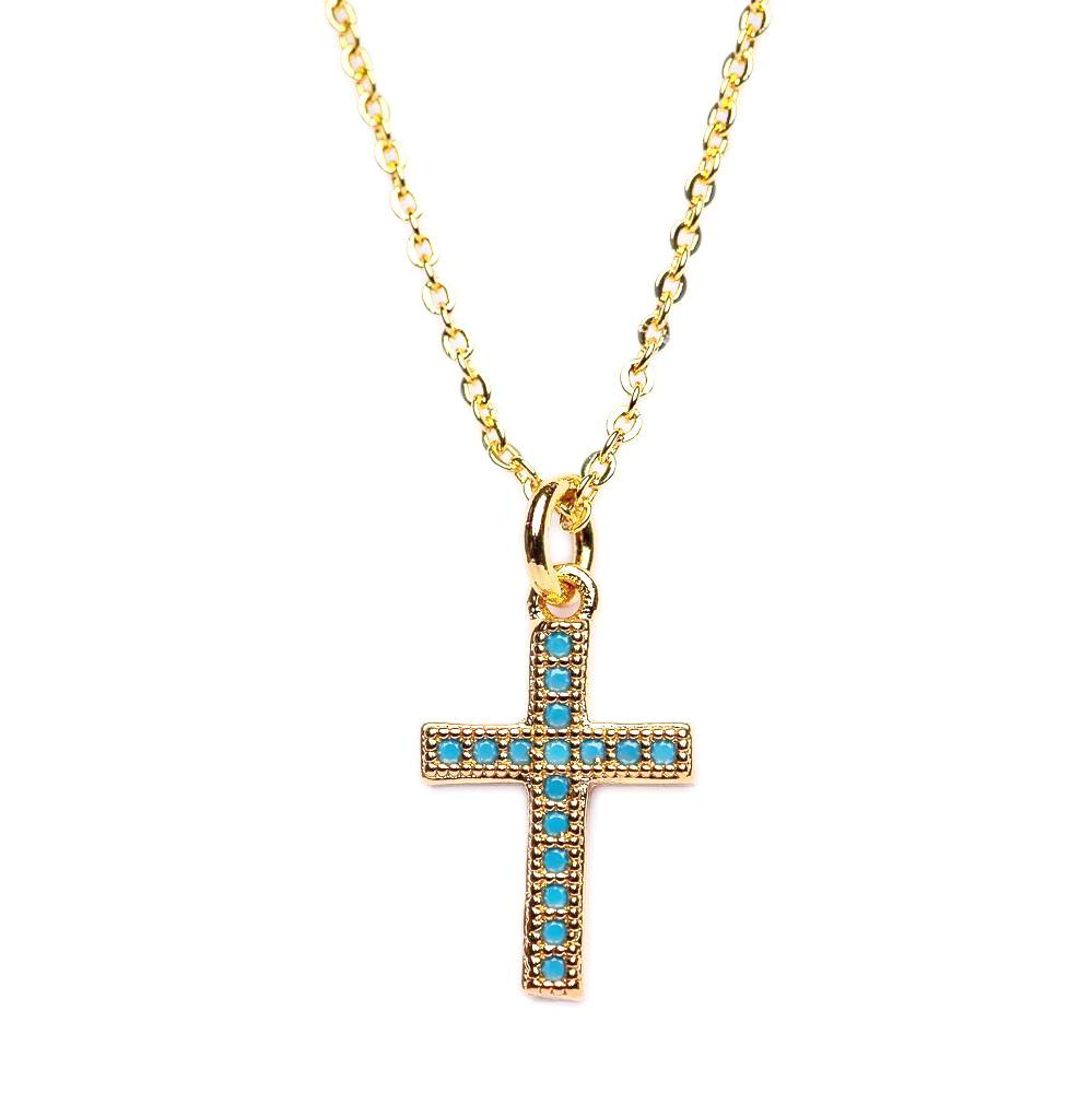 NECKLACE N-349 - MINI CROSS - BohoBlingCo