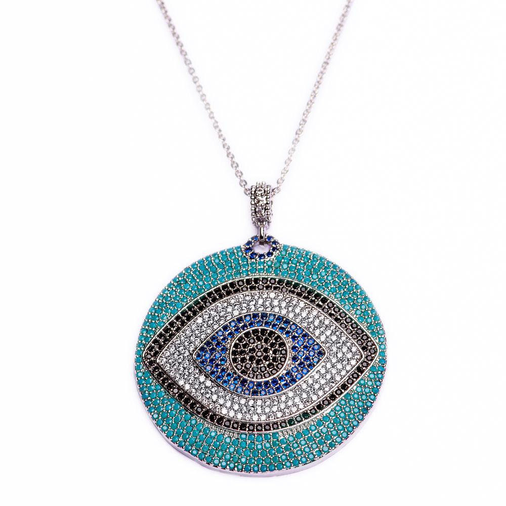 NECKLACE N-353 - EVIL EYE BLING - BohoBlingCo