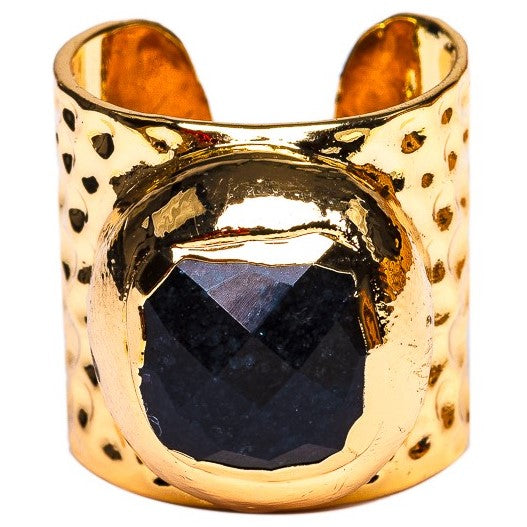 RING R-121 - FACETED BLACK ONYX - BohoBlingCo