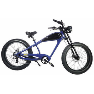 Civi Bikes Cheetah - The Cafe Racer Fat Tire Cruiser Electric Bike 750 Watt Brushless Electric Motor Blue and Black
