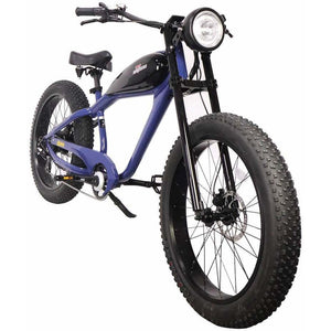 Civi Bikes Cheetah - The Cafe Racer Fat Tire Cruiser Electric Bike 750 Watt Brushless Electric Motor Classic Blue