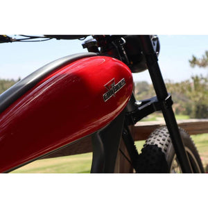 Civi Bikes Cheetah - The Cafe Racer Fat Tire Cruiser Electric Bike 750 Watt Brushless Electric Motor Red Battery Housing