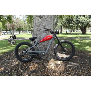 Civi Bikes Cheetah - The Cafe Racer Fat Tire Cruiser Electric Bike 750 Watt Brushless Electric Motor Red and Platinum Grey