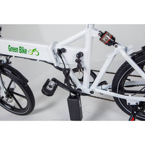 Green Bike USA GB Smart Foldable Full Suspension Electric Bike 350 Watt Brushless Electric Motor 36 Volt 10.4Ah Samsung Battery Charging