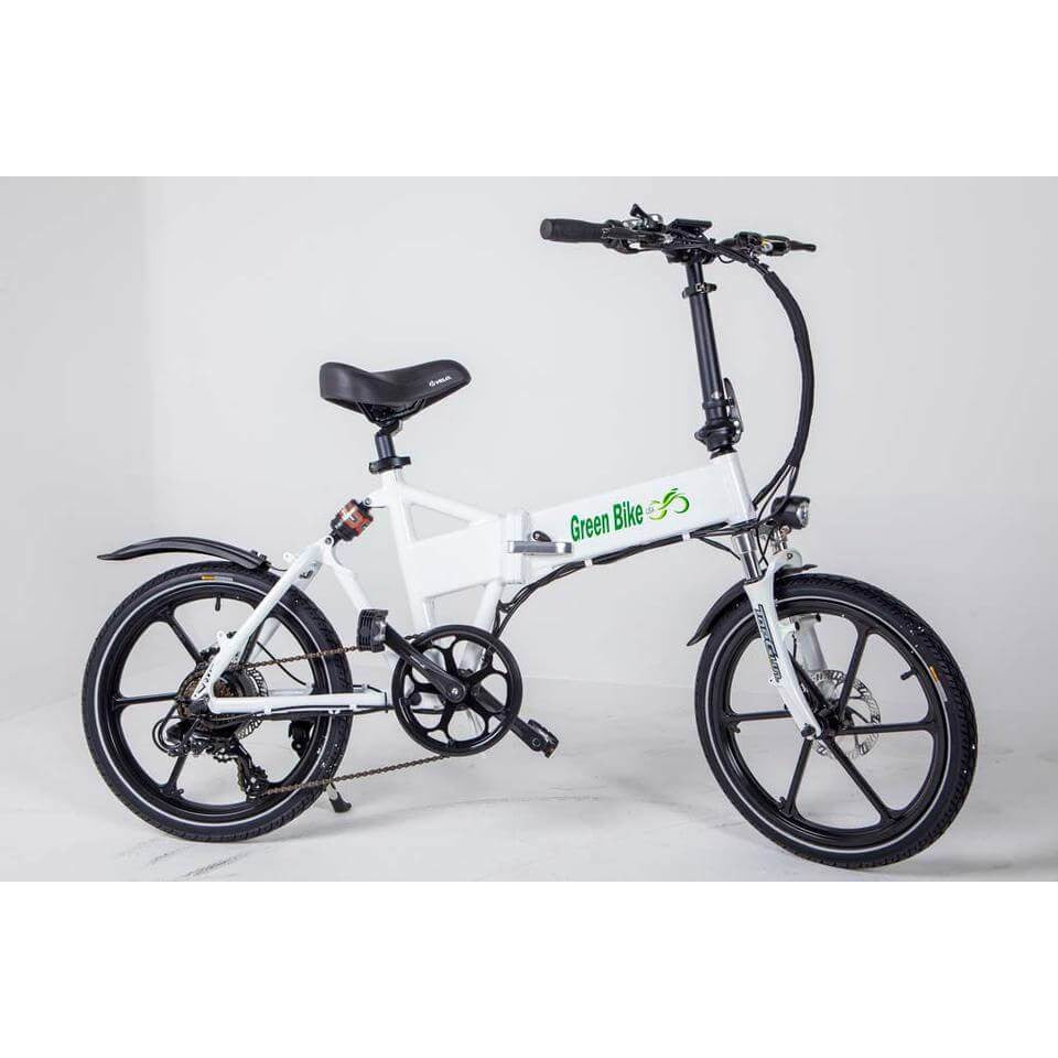 Green Bike USA GB Smart Foldable Full Suspension Electric Bike 350 Watt Brushless Electric Motor 36 Volt 10.4Ah Samsung Battery White