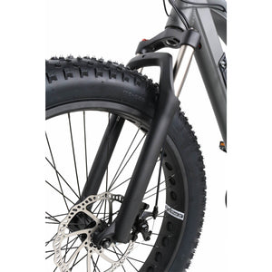 QuietKat Ranger Fat Tire Hunting Electric Mountain Bike 750 Watt Rear Hub Drive Motor Charcoal Front Forks