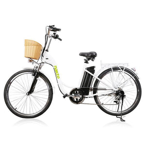 "Copy of Nakto Camel Women 26"" City Electric Bike 250 Watt Brushless Rear Hub Electric Motor White Plastic Basket"
