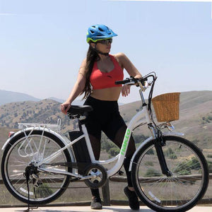 "Copy of Nakto Camel Women 26"" City Electric Bike 250 Watt Brushless Rear Hub Electric Motor White Action Shot"