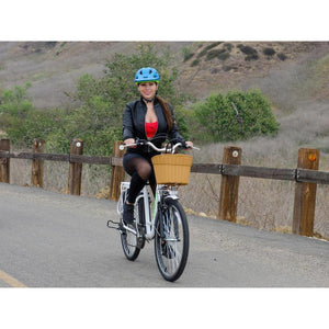 "Copy of Nakto Camel Women 26"" City Electric Bike 250 Watt Brushless Rear Hub Electric Motor White Plastic Basket Action"