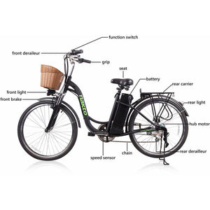 "Copy of Nakto Camel Women 26"" City Electric Bike 250 Watt Brushless Rear Hub Electric Motor Features"