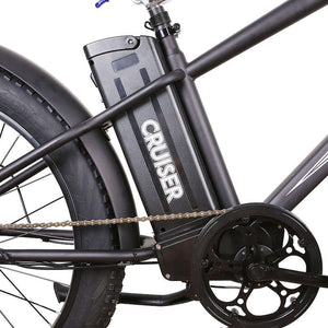 "Nakto Super Cruiser 26"" Fat Tire Electric Bike 500 Watt Rear Hub Electric Motor Black Removable Battery Pack"