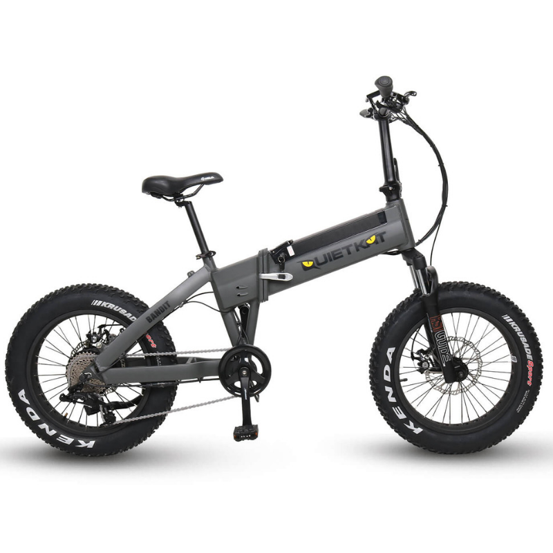 QuietKat Bandit Foldable Hunting Fat Tire Electric Bike 750 Watt Hub Drive Electric Motor Charcola