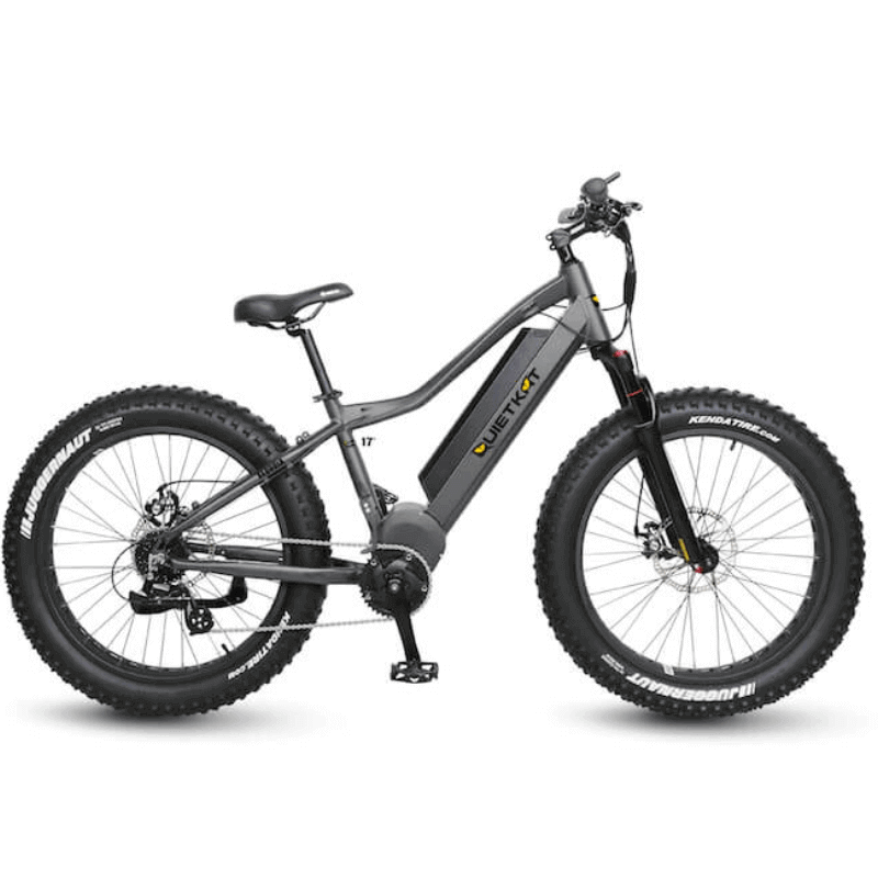 QuietKat Sequoia Fat Tire Hunting Electric Mountain Bike 750 Watt Mid Drive Electric Motor Charcoal