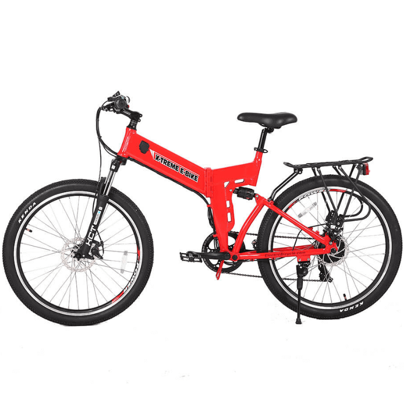 X-Treme X-Cursion Elite 24 Volt Electric Folding Mountain Bicycle 500 Watts Rear Hub Electric Motor Red