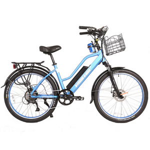 X-Treme Catalina 48 Volt Electric Step-Through Beach Cruiser Bicycle Baby Blue