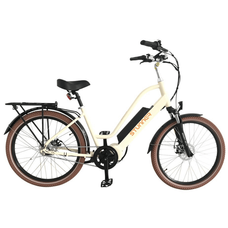 Biktrix Stunner City Cruiser Step-Through Electric Bike 750 Watt Rear Hub Electric Motor Cream
