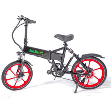 Green Bike USA GB Smart Foldable Full Suspension Electric Bike 350 Watt Brushless Electric Motor 36 Volt 10.4Ah Samsung Battery Black Red Rims