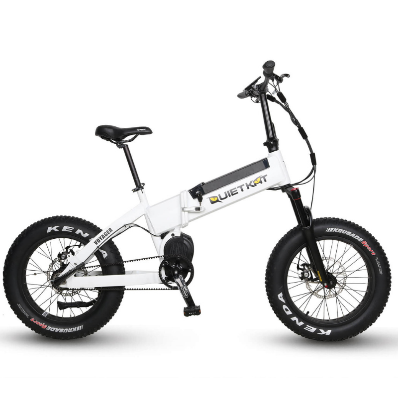 QuietKat Voyager Foldable Hunting Fat Tire Electric Bike 750 Watt Ultra Mid Drive Electric Motor White