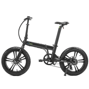 "California Bicycle Factory Beluga 20"" Electric Fat Tire Folding Bike 350 Watt Brushless Electric Motor Black Alloy Wheels"