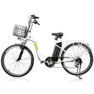 "Copy of Nakto Camel Women 26"" City Electric Bike 250 Watt Brushless Rear Hub Electric Motor White Steel Basket"