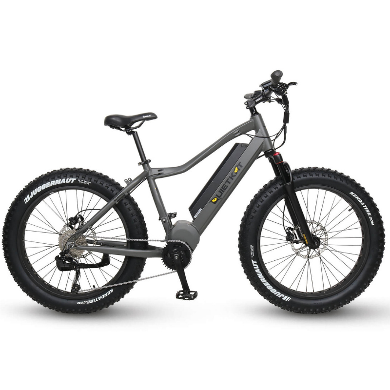 QuietKat Denali Fat Tire Hunting Electric Mountain Bike 1000 Watt Mid Drive Electric Motor Charcoal