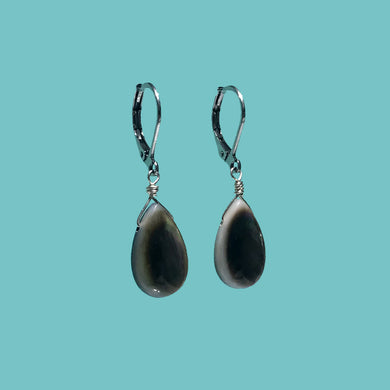 [SURF JEWELLERY] Black Shell Drop x Surgical Grade Stainless Hook (1-1-B)
