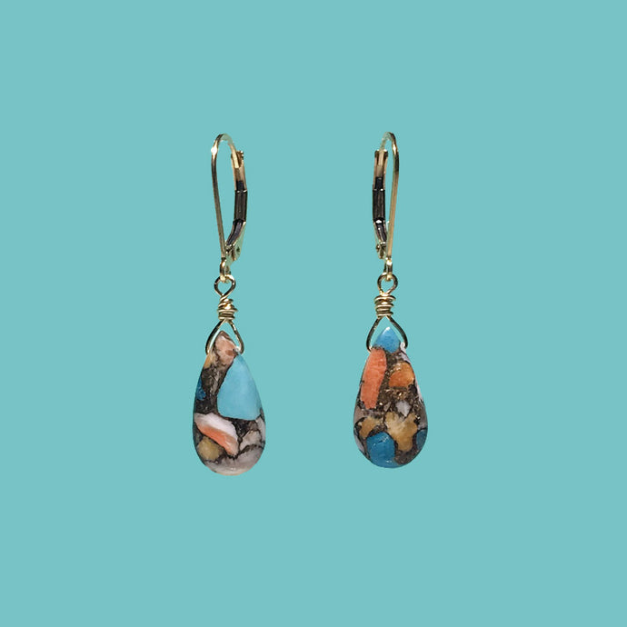 [SURF JEWELLERY] Oyster Copper Turquoise Drop (3-5-A)