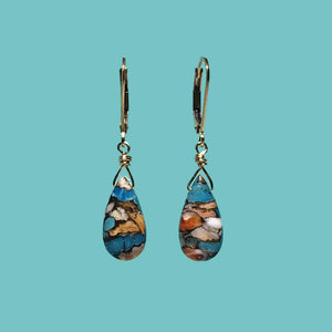 [SURF JEWELLERY] Oyster Copper Turquoise Drop (3-5-B)
